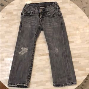 True Religion size 4 distressed grey/black jeans